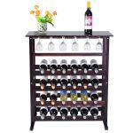 Burgundy Wooden Wine Glass Holder Bottle Rack for 24 Bottles
