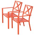 2 pcs Outdoor Patio Slat Chair with Armrest