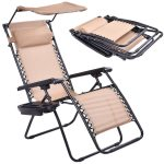 Beige Folding Recliner Zero Gravity Lounge Chair