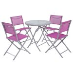 5 pcs Folding Patio Table Chair