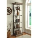 25 Inch Rustic Hylas Medium Brown Bookcase – Corbin