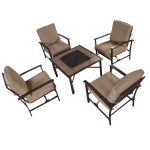 5 pcs Patio Steel Chair/BBQ Stove Cushioned Set