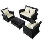 4 pcs Black Rattan Wicker Patio Sofa Set