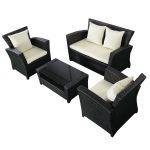 4 pcs Black Rattan Wicker Patio Sofa Set
