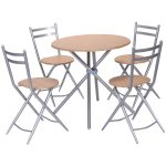 5 pcs Folding Round Dining Set