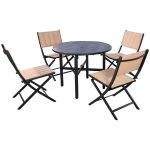 5 pcs Outdoor Bistro Folding Round Table Chairs