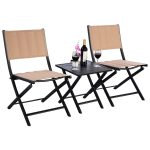 3 pcs Folding Bistro Outdoor Table Chairs