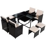 9 pcs Dining Rattan Cushioned Furniture Set