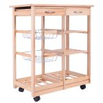 Rolling Kitchen Trolley Cart with Pull out Shelves