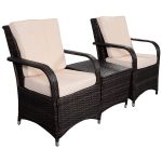 3 pcs Patio PE Rattan Wicker Cushioned Seat