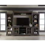 4-Piece Charcoal Brown Entertainment Center – Dilworth