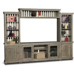 4-Piece Distressed Gray Brown Entertainment Center – Willow