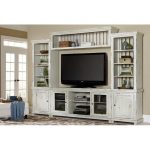 4-Piece Distressed White Entertainment Center – Willow