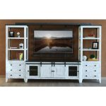 4-Piece Modern Distressed White Entertainment Center