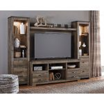 4-Piece Rustic Charcoal Brown Entertainment Center – Trinell