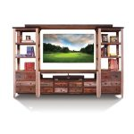 4-Piece Rustic Pine Entertainment Center – Antique