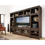 4-Piece Rustic Walnut Entertainment Center – New Castle