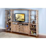 4-Piece Weathered Brown Entertainment Center