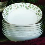 Noritake Holly and Berry Gold Bowls-Soup, Set of 8, 7 1/2″, 12 oz.