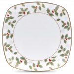 Noritake Holly and Berry Gold Accent – Plate Square, 8″