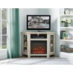 48 Inch White Oak Corner TV Stand with Fireplace