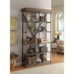 49 Inch Rustic Hylas Medium Brown Bookcase – Corbin