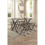 5-Piece Pine and Metal Dining Set – Fremont