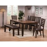 5-Piece Transitional Brown Dining Set – Elliott