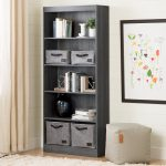 5-Shelf Gray Oak Bookcase – Axess