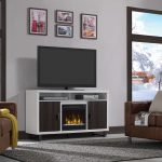 54 Inch Brown and White TV Stand with Fireplace