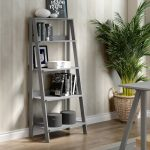 55 Inch Gray Wood Ladder Bookcase