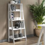 55 Inch White Wood Ladder Bookcase