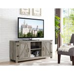 58 Inch Gray Barn Door TV Stand