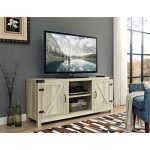 58 Inch White Oak Barn Door TV Stand