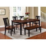 6 Piece Dining Set with Bench – Transitional Dover Black and Cherry