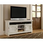 64 Inch Distressed White TV Stand – Willow