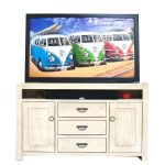 66 Inch Transitional Antique White TV Stand – Phoenix