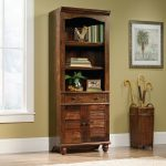 72 Inch Cherry Brown Bookcase with Doors