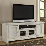 74 Inch Distressed White TV Stand – Willow