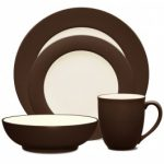 Noritake Colorwave Chocolate 4-Piece Rim Place Setting-Sample