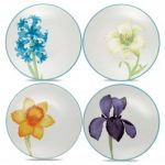 Noritake Colorwave Turquoise Plates-Floral Appetizer, Set of 4, 6 1/4″