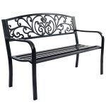 50″ Patio Park Garden Steel Frame Bench