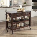 Aged Bourbon Country Comfort Kitchen Cart with Stainless Steel Top