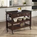 Aged Bourbon Country Comfort Kitchen Cart with Wood Top