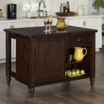 Aged Bourbon Country Comfort Kitchen Island with Granite Top