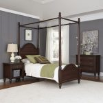 Aged Bourbon Twin Canopy Bed, Nightstand, Chest – Country Comfort