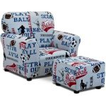All Sports American Blue Club Chair and Ottoman Set