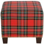 Ancient Stewart Red Square Nail Button Ottoman