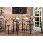Antique Black/Brown Counter Height Stools (Set of 2)