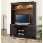 Antique Black TV Stand and Hutch – Brighton Hickory